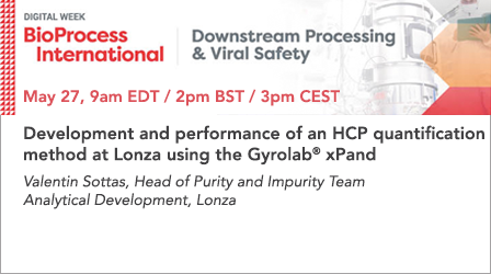 Development and performance of an HCP quantification  method at Lonza using the Gyrolab® xPand